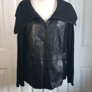 Jones NY faux Leather zip up Sweater Jacket